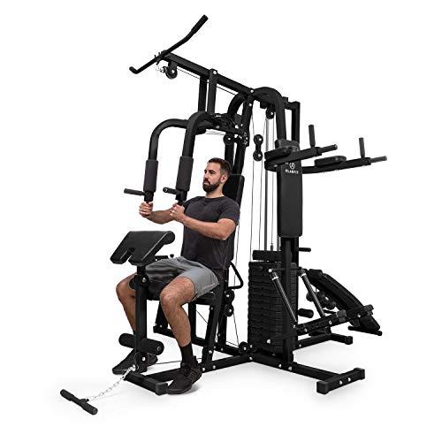 Klarfit Ultimate Gym 9000 - Station de musculation multifonction , Diptower,banc d'inversion,stepper,traction,presse à jambes,station d'abdos/curls(100 exercices, pour 2 personnes ,max.150kg) , noir