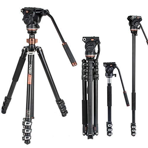 Ensemble de trépied vidéo Professionnel, trépied Flip-Lock télescopique en Aluminium de 67 po en Aluminium Cayer avec tête Fluide H4 et Base de trépied Amovible pour appareils Reflex numériques