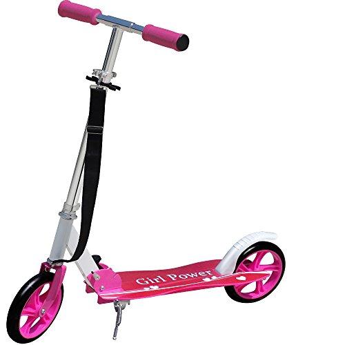Trottinette pliable design 'GIRL POWER' roues XXL avec sangle incluse