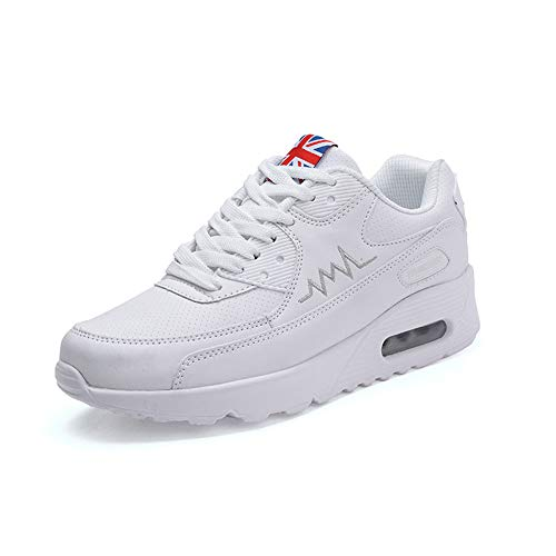 Sokaly Femme Basket Mode Chaussures de Sports Sneakers Course Fiteness Gym Tennis Chaussures Outdoor Casual Air Taille 36-40 (37 EU, Blanc)