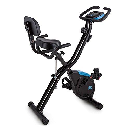 Capital Sports X-Bike Azura 2 Vélo d'appartement Pliable (Ordinateur de Bord, 8 Niveaux de résistance, Selle avec Dossier et poignées, Forced'inertie de 3kg, 100kg)