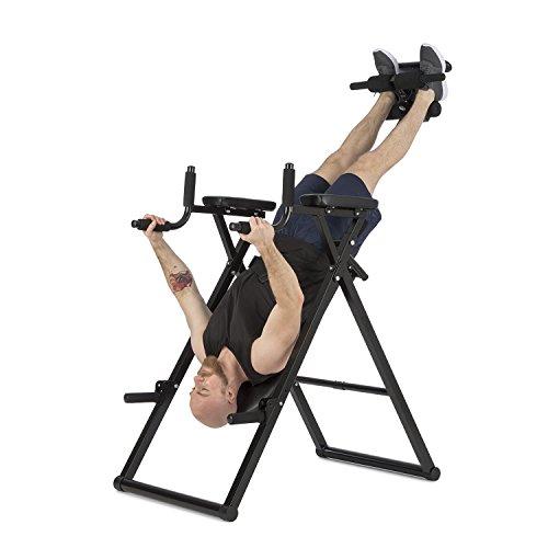 Klarfit Power-Gym Table d'Inversion Banc lombaires 6-en-1-Multitrainer Entraînement Inversion, Pompes, Squats, tractions, dips & Abdos Jusque 120 kg réglable Noir