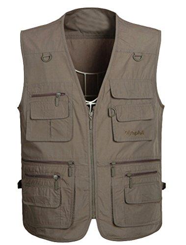 Vogstyle Homme Manteau sans Manche Veste Tops Pêche de Chasse Randonnée Gilet avec Multi-Poches Colore-3 XL