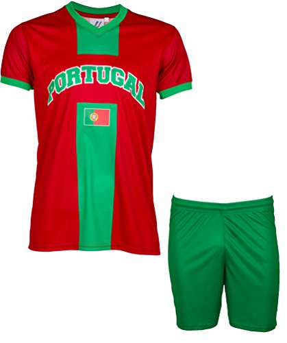 A chacun son Pays Maillot + short Portugal - Collection supporter - Taille enfant 12 ans