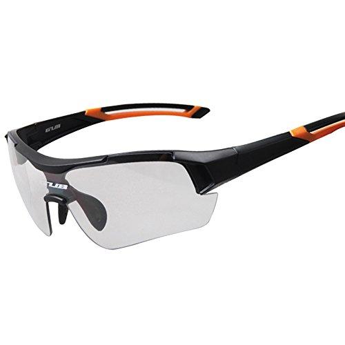 Lixada Lunettes de Soleil Photochromiques Protection UV Sports de Plein air Cyclisme VTT Lunettes de Vélo Lunettes avec Cadre de Myopie (Orange)