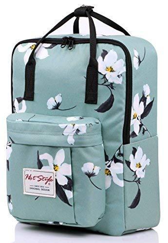 HotStyle Magnolia Women Backpack Sac à dos d'école avec compartiment pour ordinateur portable (37x26x13cm), magnolia, menthe