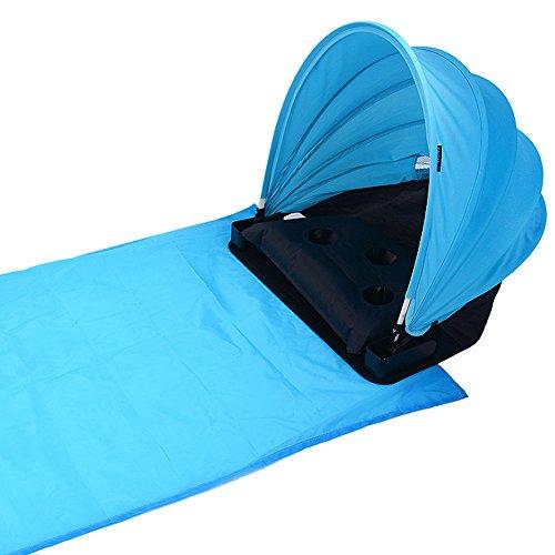 CHENYUE Tente de plage Réglable Portable Parasol Protection UV 50+ Pop-Up avec un Matelas de Plage Gonflable Anti Sable Robuste Personnelle pour Amateur de Bain de Soleil
