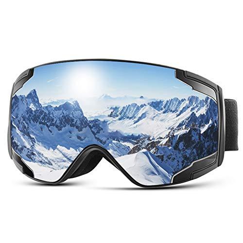 Extra Mile Masque de Ski OTG, Masque Ski Homme Femme Anti-buée & Anti-UV400 Masque Snowboard Coupe-Vent, Lunette de Ski de Protection avec Double Lentille Sphérique, Goggles pour Snowboard Planche