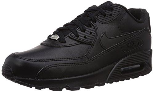 Nike Air Max 90 Leather, Baskets mode homme, Noir (Black/Black 001), 42 EU