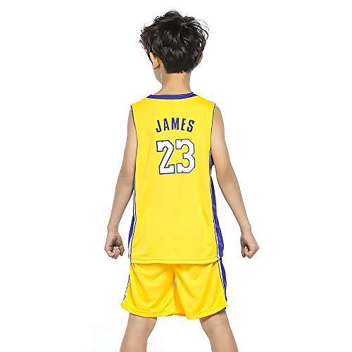 BUY-TO Maillot James Uniforme de Basketball pour Enfants T-Shirt Enfant Shorts Lakers Convient aux Enfants de 8 à 15 Ans Garçons Filles,Yellow,M(130-140CM)