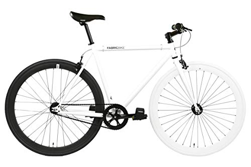 FabricBike- Vélo Fixie Noir, Fixed Gear, Single Speed, Cadre Hi-Ten Acier, 10Kg (M-53, White & Black)