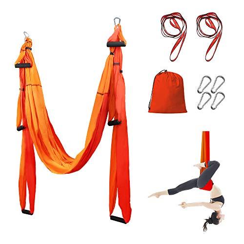 Sotech Hamac de Yoga Aérien Kits, Balançoire de Yoga en pour Le Yoga Anti-gravité, Exercices d'inversion, avec Sac de Transport et 2 Sangles d'extension, Capacité 300 kg (Orange/Rouge)