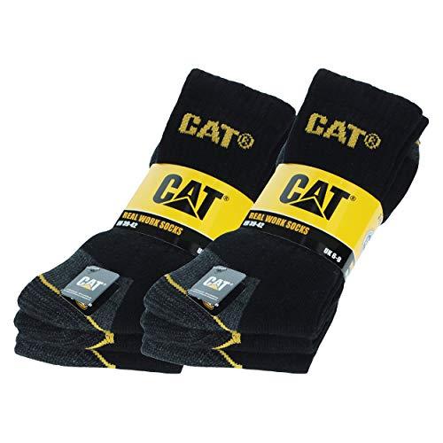 Chaussettes de travail pour hommes 6 paires Prévention des accidents renforcées au talon et à la pointe avec trame renforcée CAT CATERPILLAR fils de coton éponge d'excellente qualité (Noir, 3942)