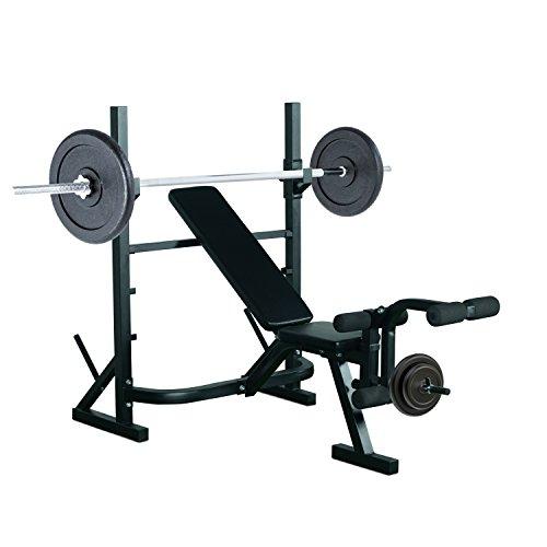 Banc de Musculation Fitness Entrainement Complet Dossier réglable Curler Supports Barre et haltères Noir