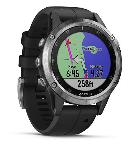 Garmin Fenix 5 Plus Silver Bracelet Noir - Montre GPS Multisports avec cartographie, Musique, paiement sans Contact