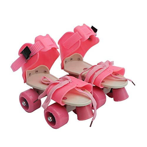 VORCOOL Patins à roulettes pour Enfant à Quatre Roues à Patins réglables Quad Roller Skates Chaussures Taille 25-32 (Rose)