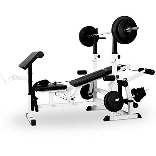 Klarfit KS02 Station de Musculation Fitness mutlifonction (pupitre pour curl, Butterfly, Porte-haltères, câbles d'étirement avec Banc pour entraînement Complet) - Blanc