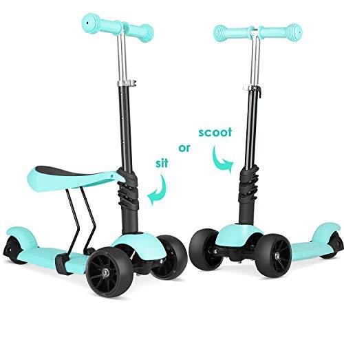 BAMNY Trottinette pour enfants Toddlers 3-en-1, réglable à 3 roues Trottinette avec siège amovible et réglable, roues lumineuses à DEL pour garçons de 2 à 6 ans (Topa Green)