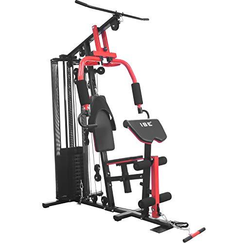 ISE Appareil de Musculation Station/Home Gym Complet avec Contrepoids 65KG / 11 Pièces - Presse pour Pectoraux, Butterfly, Poulie Haute et Leg curl, SY-410