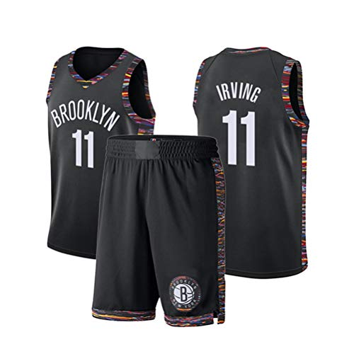 ZGJY Brooklyn Nets Short en Jersey Kyrie Irving # 11 - Ensemble Classique sans Manches, Maillot Boston, Basket-Ball pour Hommes et Costume de Basket-Ball Unisexe T-Shirt Cousu Lettres-black1-XS