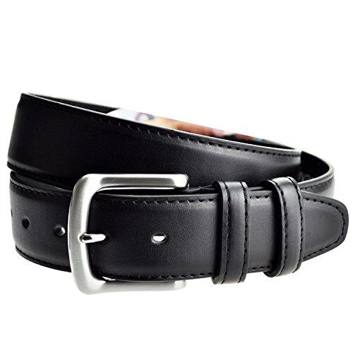 LIVAN -L0040- ceinture cache billet à fermeture éclaire zip longue doublé en cuir TU105 cm Homme Noir