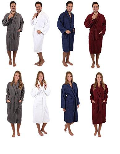 BETZ Peignoir de Bain/Peignoir d'intérieur en Tissu éponge avec col châle pour Homme et Femme 100% Coton Athen Tailles S-XXL Size M - Bleu Marine