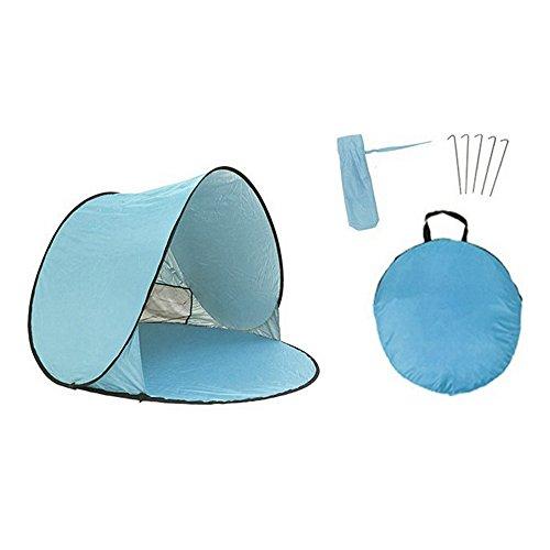 Roblue Tente de Plage Parasol Anti Soleil Portable Automatique Pliable pour Voyage Pop Up en Tissu Polyester Imperméable 150X150X90cm