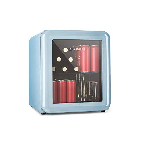 Klarstein PopLife Réfrigérateur à boisson • Minibar • Réfrigérateur rétro • 0-10°C • seulement 39 dB • Écologique • Porte à double vitrage • Design rétro • Bleu