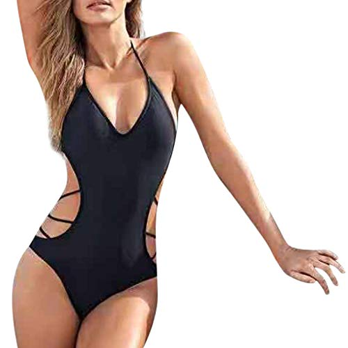 Maillot de Bain 1 Pièce,Femme Maillot de Bain Unie Creux Bikini,Monokini Classique Vêtements de Plage