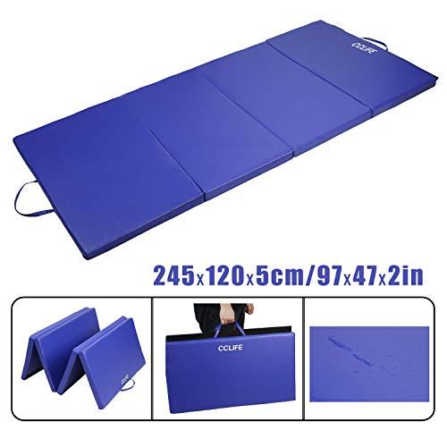 CCLIFE Tapis de Gymnastique Epais - Matelas Gymnastique - Tapis Sol Gymnastique - Tapis Gymnastique Pliable, Size:245x120x5cm