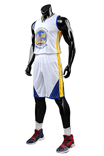 Formesy Homme NBA Curry #30 Golden State Warriors Short de Basket-Ball Retro Maillots d'été Uniforme de Basket-Ball Top & Shorts