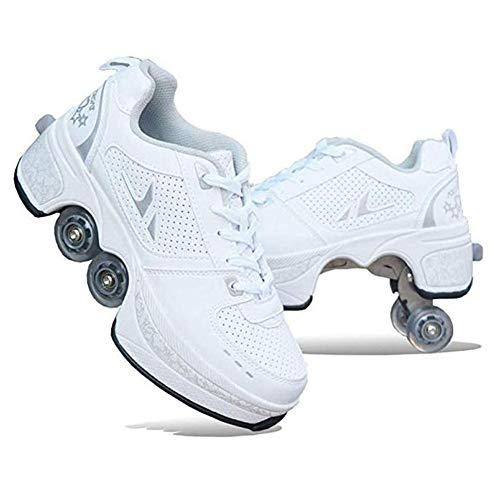 WYEING. Déformer Roues Patins Chaussures À roulettes Casual Baskets Marcher Patins Hommes Femmes Runaway Patins À Quatre Roues,Blanc,36