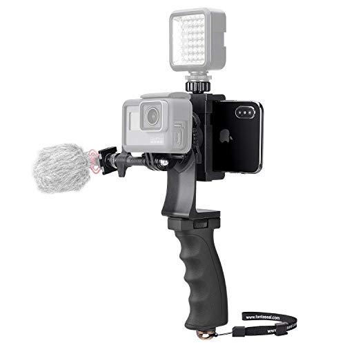 2 en 1 Kit Vidéo Pratique pour Gopro et Smartphone, Stabilisateur de Caméra Sport, Poignée Téléphone Multifonctionne pour We-Media/Youtube/Livestream/Vlog Compatible avec GoPro Sony DJI OSMO Action