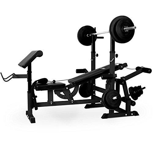 Klarfit KS02 Station de Musculation Fitness Multifonction (pupitre à curl, Butterfly, Porte-haltères, câbles d'étirement avec Banc pour Un Entrainement Complet) - Noir