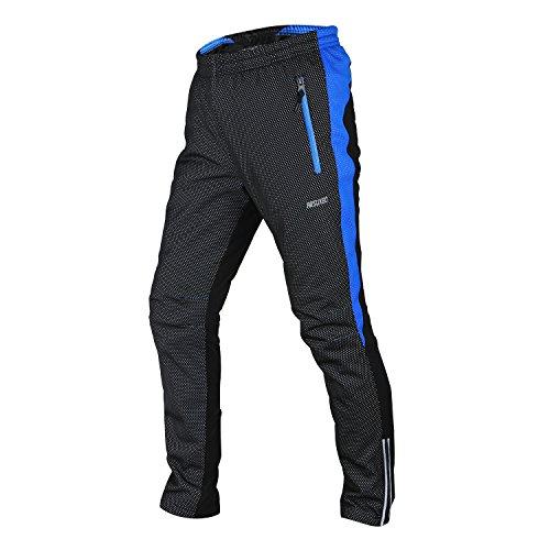 Tofern Homme Pantalon Long de Sport Noir Vélo Cyclisme Coupe Vent 3 Couches Respirant Hiver Randonnée, Noir Bleu L(Le Tour de la Taille 73-97cm)