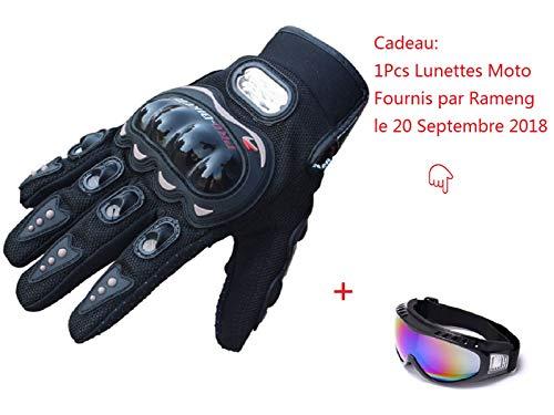 Rameng Gants Plein-Doigt Homme pour Scooter, Auto Moto, Vélo, Motocross, Combat, Fitness Protection (M)
