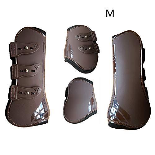 Faderr - Guêtres Avant et arrière réglables - Protection en polyuréthane réglable - Protection des tendons d'équitation, Marron, Taille M