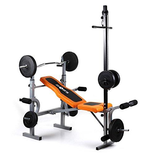 Klarfit Ultimate Gym 3500 Banc de musculation complet (curler pour bras et jambes, barre latissimus et support pour haltère, supporte 250kg max) - orange