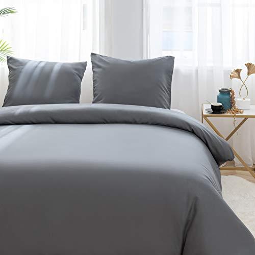 AYSW Sets de Housse de Couettes 200x200cm + 2taies d'oreillers 65x65cm Parure de lit pour 2 Personnes Gris