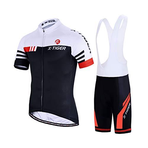 X-TIGER Maillot de Cyclisme Manches Courtes Homme +Cuissard à Bretelle 5D Gel Rembourré,Cuissard VTT Courtes Respirant Vêtements de Cyclisme Short à Bretelle (Rouge et Blanc, Size XXL=EU XL)