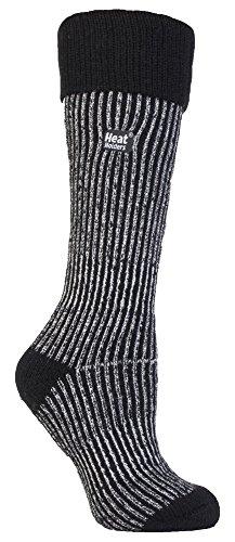 HEAT HOLDERS - Femme Chaudes Hautes Longues Thermiques Neige Chaussettes 37-42 EUR (37-42 EUR, Noir)