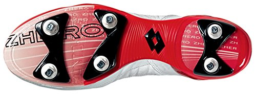 Lotto Zhero Evolution Due SG Chaussures à crampons, Homme, Blanc/rouge, Blanc, 40