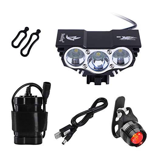 QITAO CREE U2 XML LED Lumière de vélo de vélo Torche Cycle De Face Rechargeable Imperméable Lampe de pocheLumière de vélo de Montagne 4x18650 Feu arrière