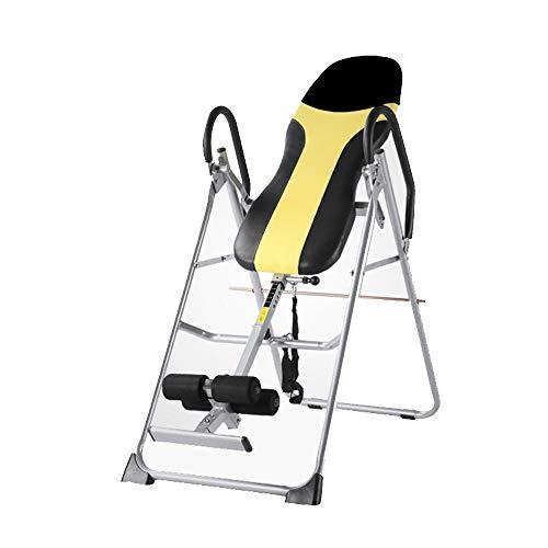 Machine inversée Table d'inversion pliable avec verrouillage de tube de maintien de la cheville amélioré Table d'inversion pour l'entraînement du dos ( Couleur : Black yellow , Taille : 120*60*140CM )