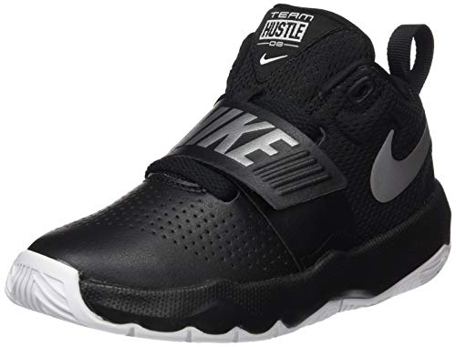 Nike Team Hustle D 8, Chaussures de Basketball garçon - Noir (Black/Metallic Silver-white 001), 30 EU