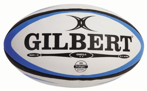 Gilbert Omega Ballon de rugby de match pour homme Bleu/Noir Taille 5