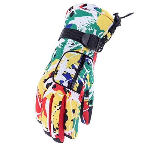 Gants de Ski Femme, Barrageon Gant Protègent du Vent, Imperméable et Thermiques, Coloré Chaud Sports de Plein Air Gants d'Hiver pour Vélo Moto Snowboard Snowmobile Boules de Neige - Jaune