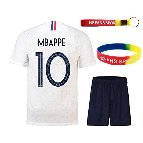 Ensembles de Sport Maillot de Football Garçon Manche Courte 2 étoiles Suit de Football (Blanc 10 Mbappe, T22 (Taille 120-130))