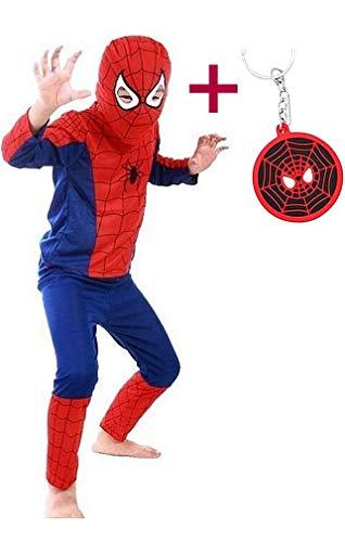 Spiderman Costume Enfants Garçon Déguisement Super Hero et Masque + Spiderman Porte-clés Gratuit (116-122, 5-6 Ans)