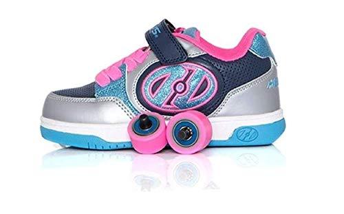 Heelys Plus X2 | Chaussures à roulettes pour les filles | Bleu/Argenté, 34 EU